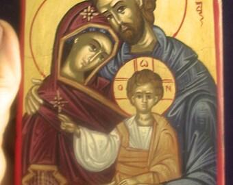 HANDPAINTED ICON.Sainta familia.Holy family..byzantine greek icon.religious icons. gift for dad mom husband christian icon.catholic ICON