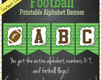 Football Printable Alphabet Banner - Instant Download