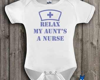 Nurse Baby Gift-Baby Clothing-Relax My Aunts A Nurse-Cute baby outfit-baby gift-Baby Bodysuit-Blue Fox Apparel-104