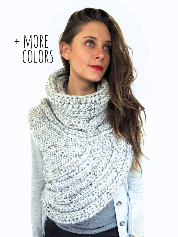 Items similar to Chunky Knit Asymmetrical Cowl Vest Shawl Scarf One Armed // ...