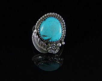 Natural Turquoise Ring Sterling Silver Handmade Size 7.5, R0200