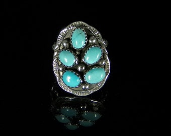 Natural Sleeping Beauty Turquoise Ring Sterling Silver Handmade Size 8.0, R076