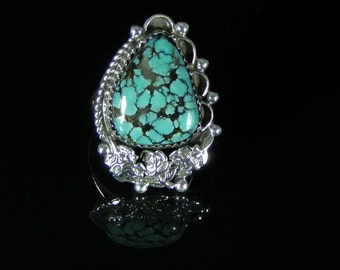 Natural Turquoise Ring Sterling Silver Handmade Size 8.5, R091