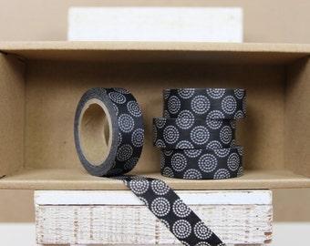 Washi Tape - black japanese firework pattern  - 9005