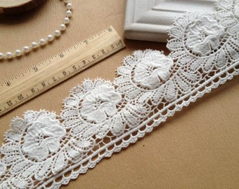 Off White Bridal Lace Fabric Cotton Lace Flower Applique Trim 2.75 inch Wide By The Yard