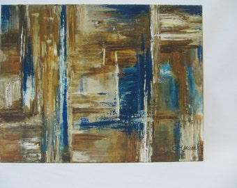"""Original abstract painting, acrylic on canvas """"gallery"""", 14'' x 18''"""
