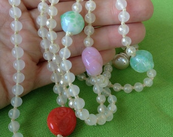 Vintage Long Glass and Plastic Bead Necklace (Item 465M)