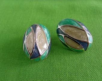 Vintage Swirled Enamel Post Earrings (Item 420)