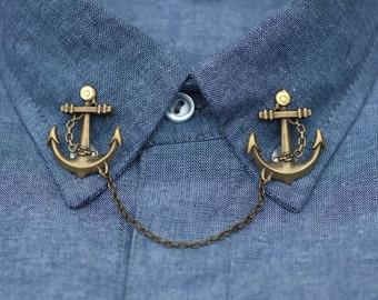 Bronze Anchor Collar Clip Collar Chain