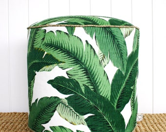 "Square Fox Green Palm outdoor pouf ottoman floor seat | Round 45cm or 18"" diameter"