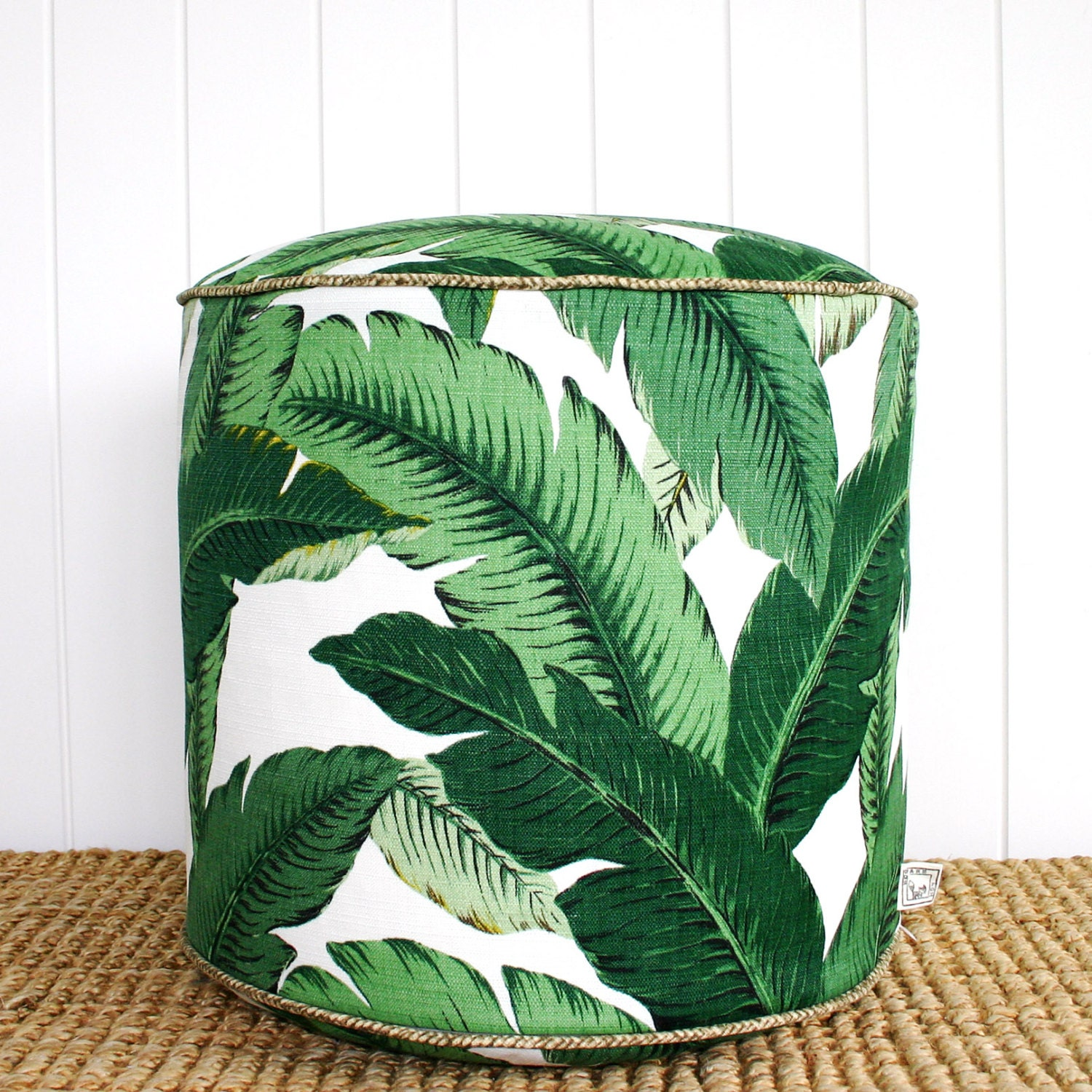 square fox green palm outdoor pouf ottoman floor seat round. Black Bedroom Furniture Sets. Home Design Ideas