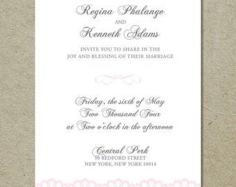 vintage lace wedding invitation with quote