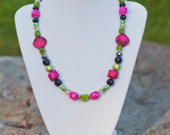 Hot Pink and Lime Green Necklace