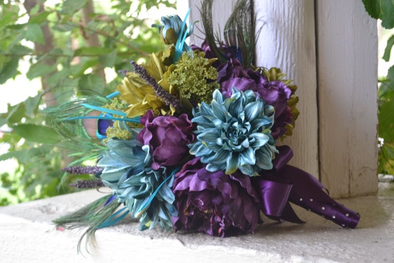 Peacock Wedding Bouquet - Teal, Green,Purple Peonies, Dahlias, Peacock Feathers- Peony Bouquet, Silk Flower Bouquet, Peacock Feather Bouquet