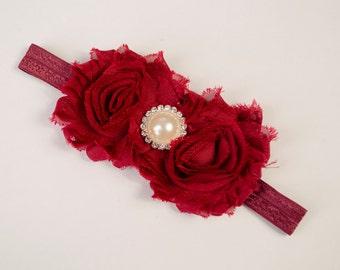 Scarlet Red Rosette headband-Baby Headband-Shabby Chic Flower Headband-Baby Girl Headband-Newborn Headband-Baby Hairbows-Headband-Hairbows