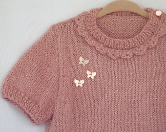 Pink Sweater,Dusty Rose,Hand knitted,Baby Girl,Toddler,Rose, butterfly,Sweet Soft Special Gift