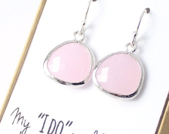 Blush Pink / Silver Rounded Earrings - Ice Pink Bridesmaid Drop Earrings - Wedding Party Jewelry - Pink and Silver Earrings -EB2