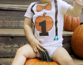 Fall Pumpkin Theme 1st Birthday Bow Tie and Suspenders Onesie for Boy