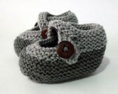 grey knitted baby booties with straps & buttons unisex *FREE POST - MadeWise