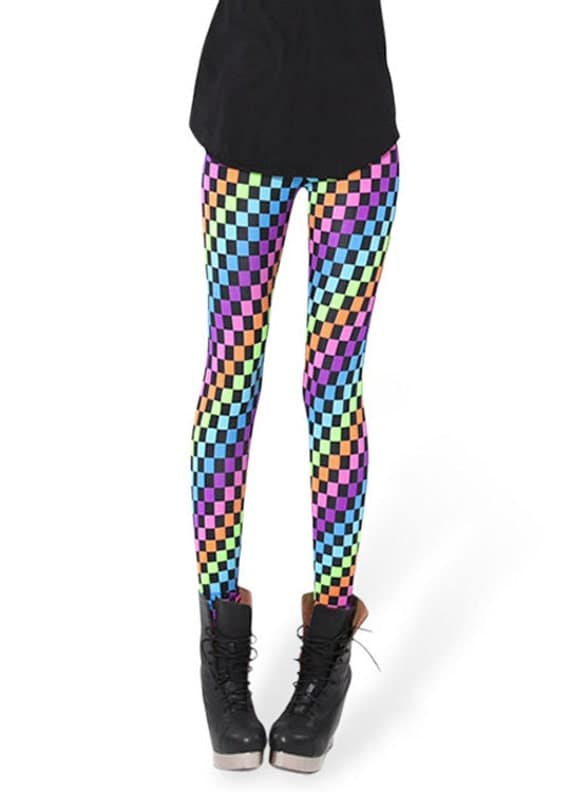 80s 90s tights-Printed Colorful leggings- Plaid pants ...