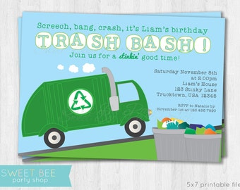 Garbage Truck Birthday Invitation - Printable