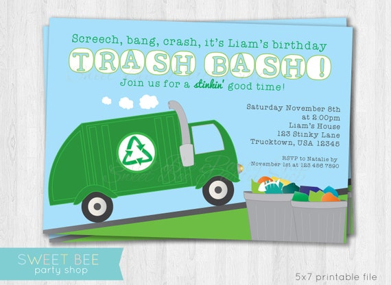 Garbage truck birthday invitation printable like this item filmwisefo Image collections