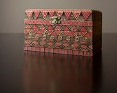 Decoratively Hand Painted - Geometrically Patterned Wooden Treasure Box for Storing Valuables, Keepsakes and Collectables