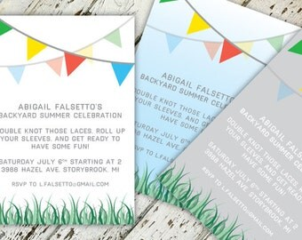 Backyard Bash Grass & Penants Party Invitation | 5x7 | Print-It-Yourself | Digital Download | Printable | Custom Invitation