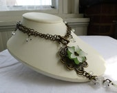 Floral Pendant Necklace- Green & White Flower on antique copper- Festival Faire