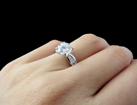 Size 6 2 5 carat Round Solitaire Tapered Engagement Ring Man
