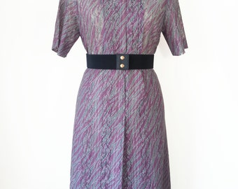 Japanese Vintage Dress / Purple Hollow Pattern Dress / Purple Striped Dress / Short Sleeves Summer Dress / Size S M