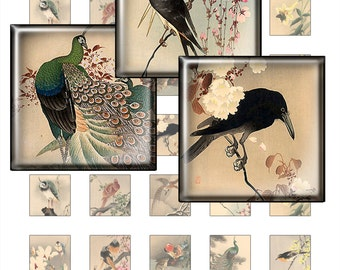 Japanese painting - Digital Collage Sheet, 1x1 inch squares. Images for pendants, Scrapbooking, Magnets