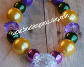 Purple Gold Green Mardi Gras Inspired Chunky Necklace, Bubblegum Necklace, Statement Necklace Jewel of Mardi Gras New Orleans Party favor!!