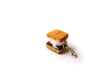 Smore Campfire Sandwich Charm, Miniature Food Jewelry, Polymer Clay S'mores Food Charm