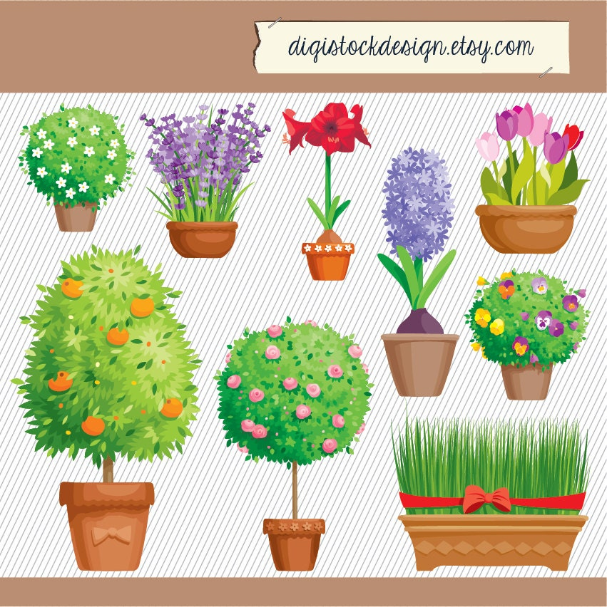 Flower Clipart. Flower Garden Illustration. Flower Plants
