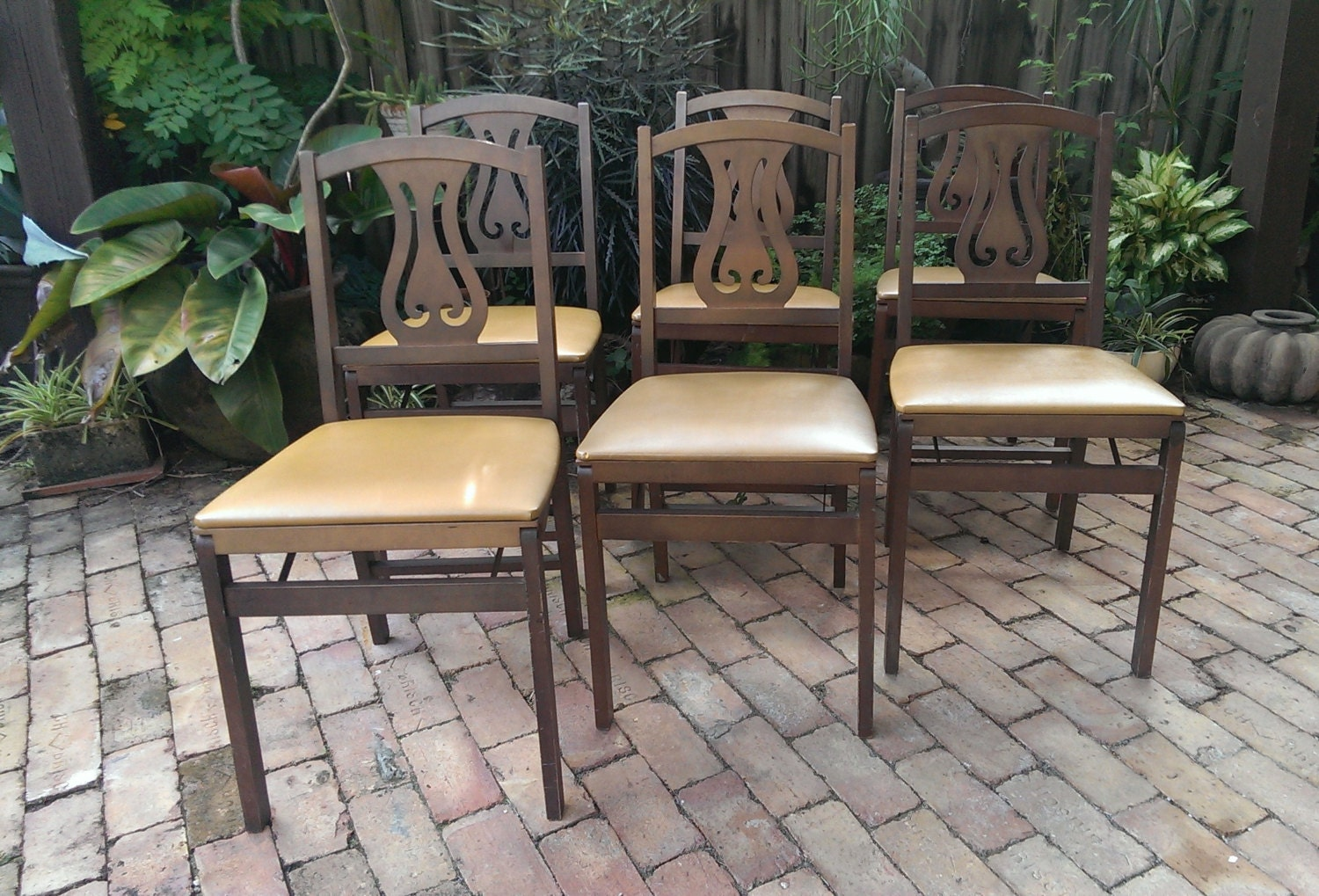 Set Of 6 Stakmore Folding Lyre Chairs Free Shipping