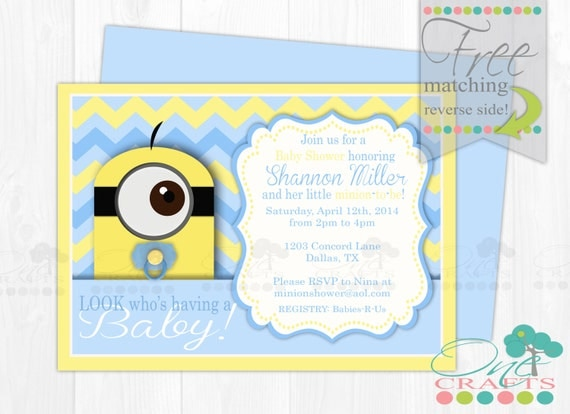minion themed baby shower invite diy baby minion printable digital