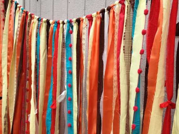 Rustic orange red yellow fabric wedding garland backdrop for Curtain fabric for baby nursery