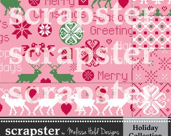 Nordic Digital Patterns 2: Pink, Red, and Green