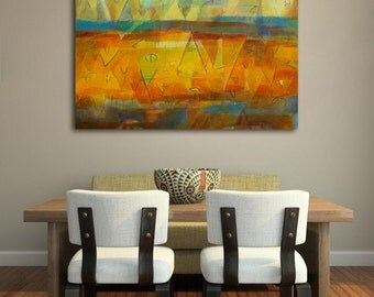 "GEOMETRIC landscape painting, original abstract art, earth tones, acrylic painting, ""Tierra Luz""-26""x36"""