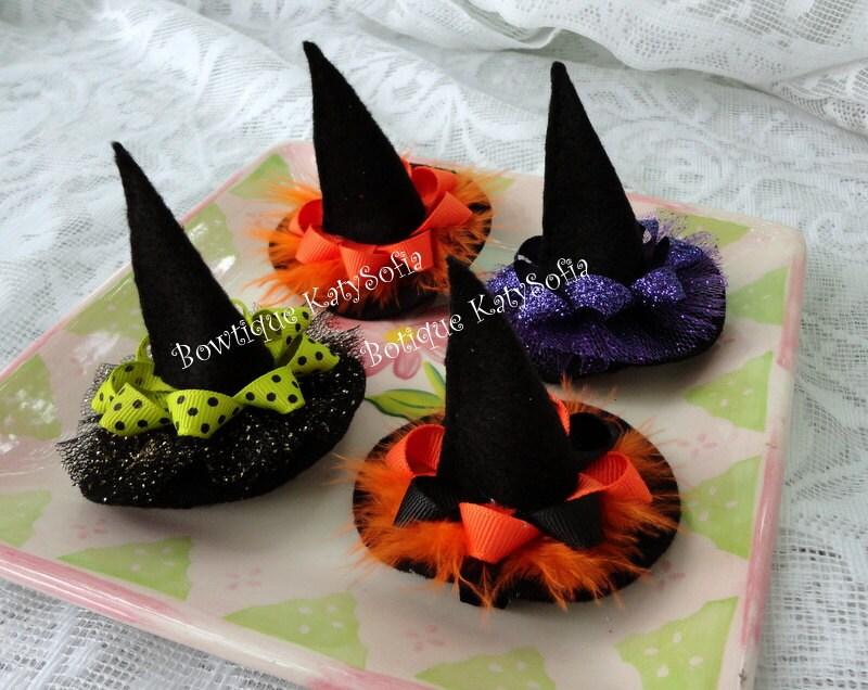 Halloween Hair Bow Witch Hat Hair Clip Felt Hair Bow