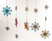 Snowflake, woven Long hanging mobile, scent diffuser