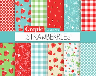 "Strawberry digital paper: ""STRAWBERRIES"" digital paper pack with red, green and blue strawberry backgrounds and textures, gingham, polkadots"