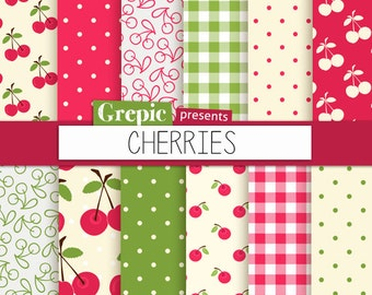 "Cherry digital paper: ""CHERRIES"" digital paper pack with red, green and pink cherry backgrounds and textures, gingham, polkadots"