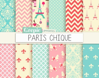 "Paris digital paper: ""PARIS CHIQUE"" with parisian chic classical patterns with damask, fleur de lys, chevron paris patterns in pink and blue"