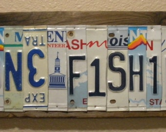 Ooak upcycled license plate sign art gone fishing for How much is a fishing license in illinois