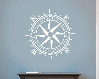 Compass Rose Removable WALL DECAL Art Vinyl Nautical Beach Decor