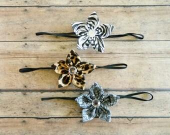 Cheetah and Zebra Headbands, Baby Headband Set, Newborn Headband, Thin Elastic Headband, Toddler Girl Headband-Set of 3