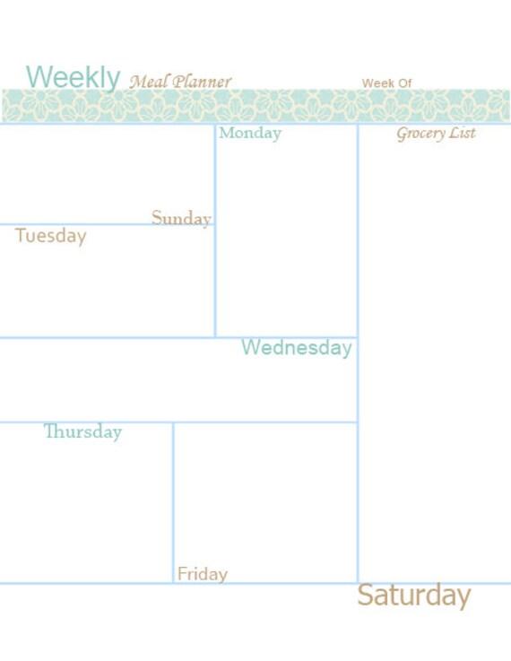 Editable Meal Planner Calendar : Editable weekly meal planner printable