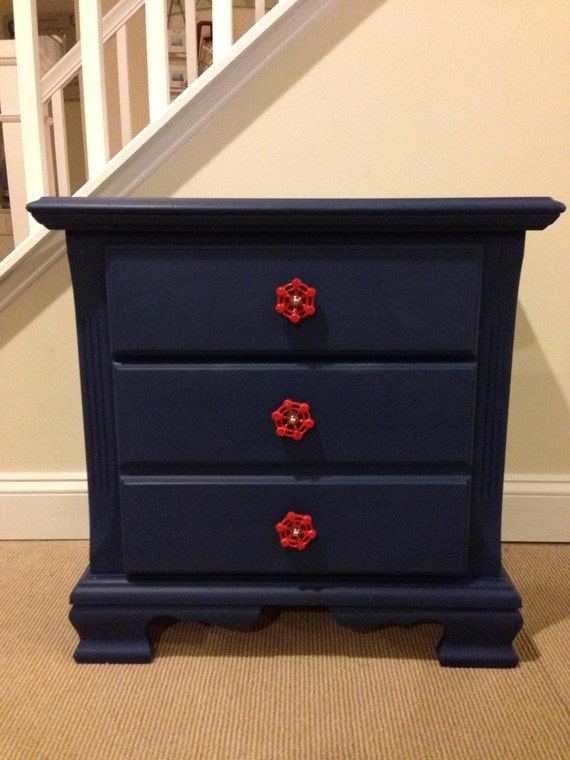 Navy Blue Nightstand Red Knobs Pulls Chalk Paint
